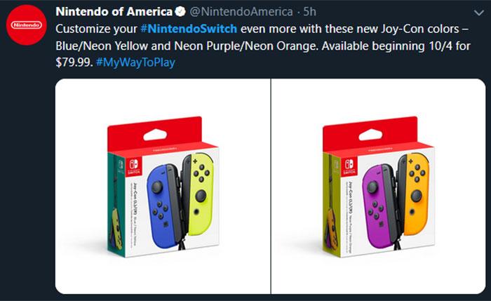 Nove barve JoyCon kontrolerjev